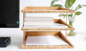 File Desk Organizer Bamboo Multi Tier Desk Organizer Tray Letter File Holder Feelgift