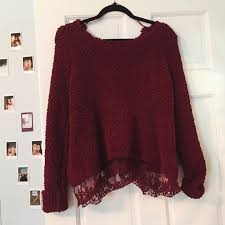 maroon sweaters 58 lf sweaters lf comfy maroon sweater with lace on the