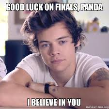 Good Luck On Finals Meme - good luck on finals panda i believe in you make a meme