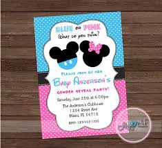 mickey and minnie mouse gender reveal party invitation