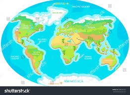 Asia Geography Map by World Geographical Map Names Continents Oceans Stock Vector