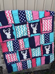 Pink And Aqua Crib Bedding Woodland Baby Quilts And Nursery Bedding With Deer Heads A