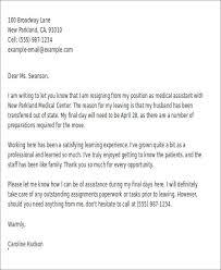 resignation letter for medical medical assistant job resignation