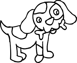 coloring page of dog with bone free clip art