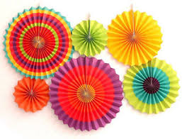 Home Decor Parties Set Of 6 Colorful Paper Fans Fiesta Supplies Home Decor Party