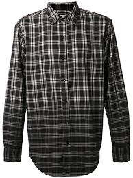 shades of grey by micah cohen ombre plaid shirt in black for men