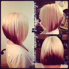 a line shortstack bob hairstyle for women over 50 block coloring with platinum blonde red with stacked bob cut for