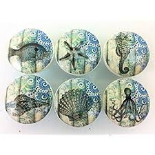 Sea Life Cabinet Knobs Set Of 10 Colorful Sealife Cabinet Knobs Amazon Com