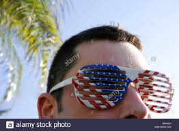 Flag Sunglasses Person Wearing American Flag Sunglasses Stock Photo Royalty Free