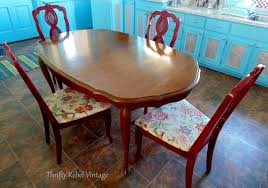 repurposed dining table repurposed tablecloth kitchen chairs makeover thrifty rebel vintage