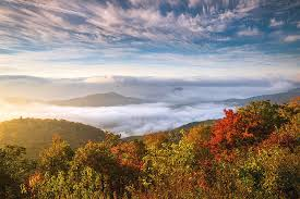 north carolina autumn sunrise blue ridge parkway fall foliage nc