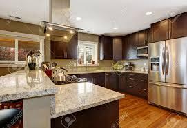 plancher cuisine salle de cuisine brun foncé avec des appareils en acier et plancher