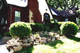 for space small front yard landscaping with white rocks garden