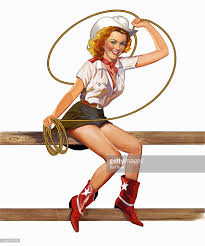 retro vintage pinup in cowgirl costume stock illustration