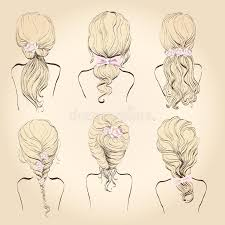 set of wedding hairstyles stock vector image 58032098
