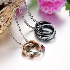 titanium stainless steel necklace images Romantic style titanium steel couple necklaces jpg