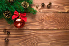 New Year Soft Board Decoration by Christmas Fir Tree With Decoration On Dark Wooden Board Soft Fo