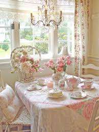 cute shabby chic dining room with flower vase and basket and