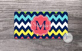 Front Vanity Plates Colorful Chevron License Plate Custom Name Or Monogram