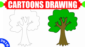 how to draw a tree step by step for and beginners in 60s