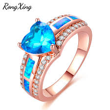 rose zircon rings images Rongxing lake blue heart zircon rings for women rose gold filled jpg