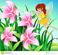 a fairy pointing the pink flowers at the garden stock vector