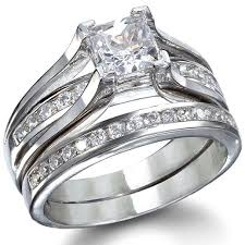 wedding rings bethany s sterling silver princess cut wedding ring set