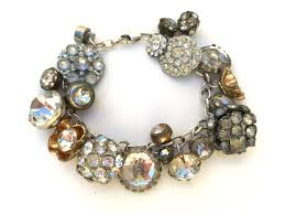 antique charm bracelet images Vintage rhinestone metal button charm bracelet silver 7 1 4 jpg