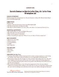 socratic seminar on martin luther king jr u0027s letter from