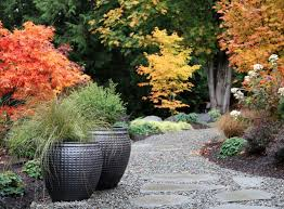 zen modern landscaping grouped planters gravel and colorful