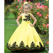 little girls yellow black satin lace applique sunset ball flower