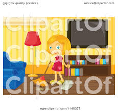 Livingroom Cartoon Cartoon Of A Happy Blond Sweeping A Living Room Royalty