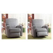 pri sutton gray fabric swivel recliner ds 912 006 177 the home depot