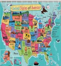 Shower Curtain Map Usa Map Kids Fabric Shower Curtain Fun Facts Geography Us States