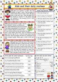 Daily Life Skills Worksheets Kids And Their Daily Routines Key Worksheet Free Esl