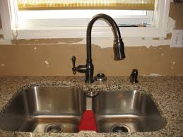 oil rubbed bronze kitchen faucet with stainless steel sink