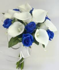 Wedding Flowers Blue Royal Blue Picasso Calla Lily And Royal Blue Rose Brides Bouquet