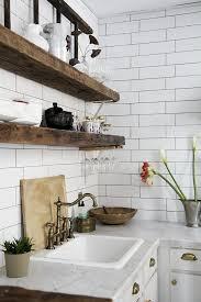 vintage style room decor reclaimed wood kitchen floating shelves