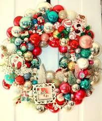 vintage shiny brite ornament vintage waving santa wreath ooak
