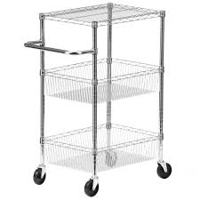 Microwave Cart Home Depot Honey Can Do 3 Tier Steel Wire Heavy Duty Rolling Storage Cart In