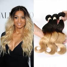 Hair Weave Extensions by 3 Bundles Blonde Color 1b 27 Ombre Human Hair Weave Extensions