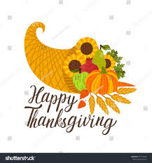 vector thanksgiving background cornucopia text happy stock vector