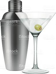 martini glass with olive martini glass and a cocktail shaker stock vector art 479369169