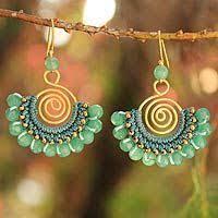thailand earrings tourmaline and brass bead dangle earrings candy
