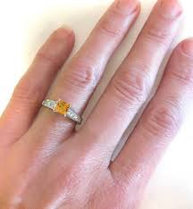 citrine engagement rings princess cut citrine and diamond ring in 14k white gold with
