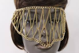halloween gold gold metal head chain eye cover half face elastic mask thick