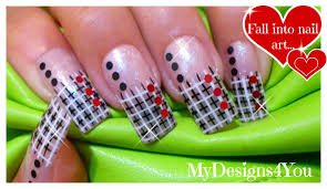 how to net plaid nail art black and white nails french tip