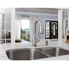 stainless steel selia touch free pull kitchen faucet with