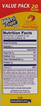 wyler s light singles to go nutritional information amazon com wyler s peach mango light singles to go soft drink
