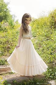 bohemian flower girls dresses 2017 two pieces style gold sequins